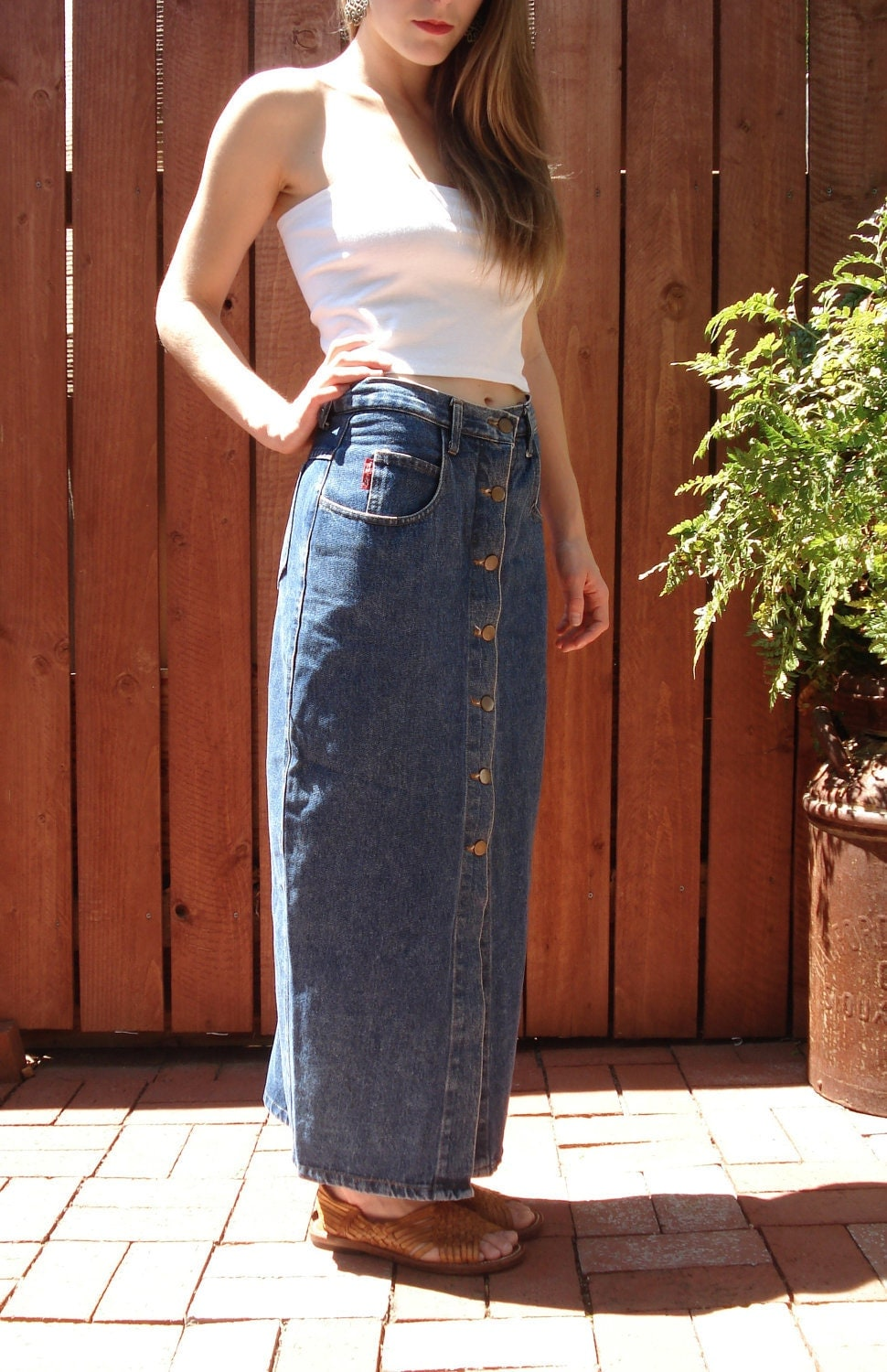 1990s Button Down DENIM Skirt / Long Wiggle Skirt /