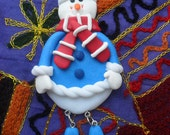 Christmas Decoration. Snowman. Polymer Clay. Glow in the Dark - JamButtyCrafts
