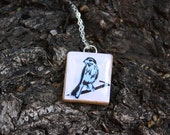 The Spring Necklace, upcycled scrable tile, sterling silver- by Rare Tee
