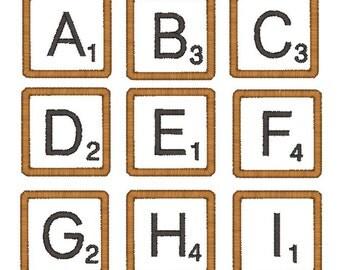 """Scrabble Tile Font Machine Embroidery Applique Designs 1.5""""-INSTANT DOWNLOAD"""