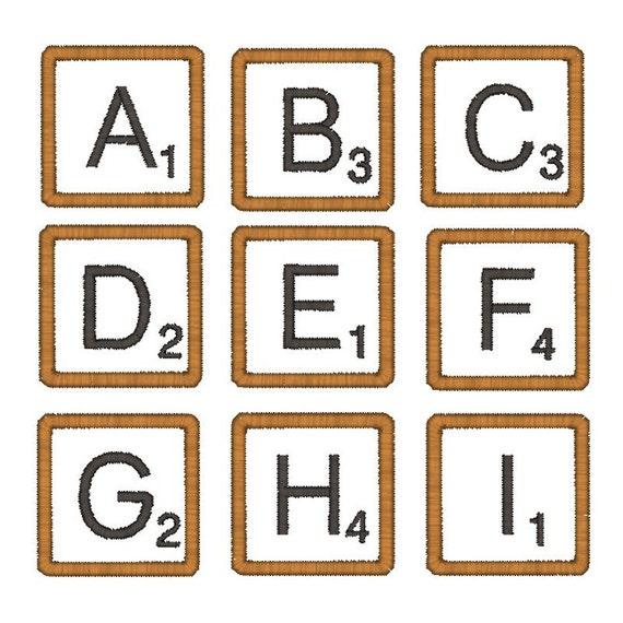 Scrabble Tile Font Applique Machine Embroidery Designs 3 inch PES & VP3 FORMAT ONLY