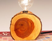 Wood Lamp. Eco-friendly reclaimed wood limb. Natural shades of yellow and brown.