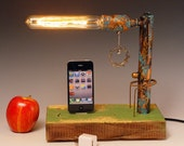 iPhone, iPod dock AND table lamp. Recycled wood & copper pipes. Steampunk, Industrial, Edison bulb. USB wall charger. 215
