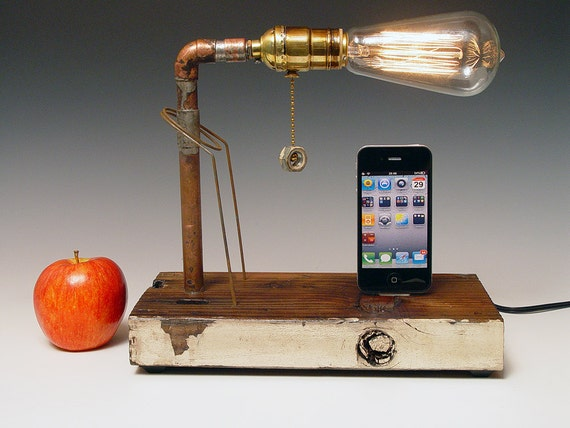 iphone dock and table lamp recycled wood copper two edison. Black Bedroom Furniture Sets. Home Design Ideas