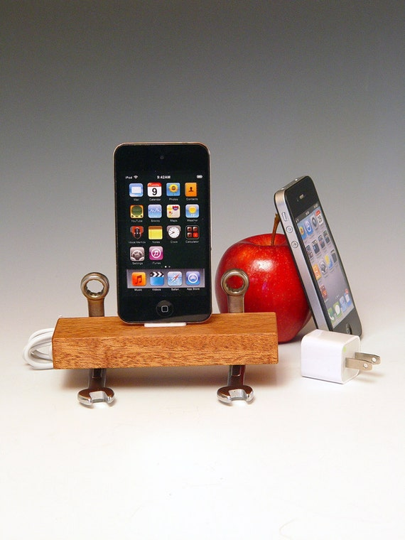 iPod iPhone dock with USB wall charger. Handmade from repurposed tools and wood. Heavy duty cool. FAST SHIPPING. 196