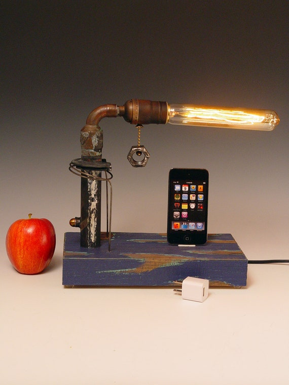 iPhone dock AND table lamp. Recycled wood & copper pipes. Edison bulb. USB wall charger. 207