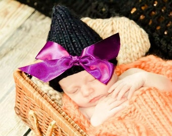 Little Solid Black Witch Hat with Bow