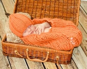 Pumpkin Cocoon and Hat Set