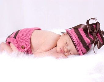 Striped Bow Hat with Matching Diaper Cover