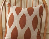 Pair of Fall Rust/Orange and Natural Ikat Print Pillow Covers 18x 18- ON SALE