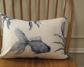 Goldfish Lumbar Oceanic Sea Creatures by Thomas Paul Blue Indigo Pillow Cover  12 x 18