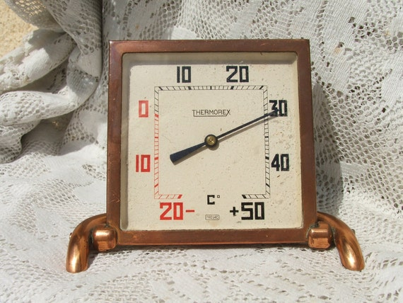 Vintage FRENCH Art Deco Thermorex COPPER THERMOMETER