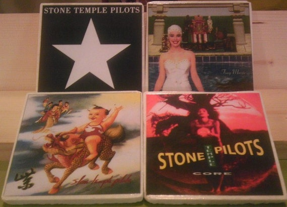 items similar to stone temple pilots album cover coasters on etsy. Black Bedroom Furniture Sets. Home Design Ideas
