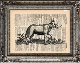 Monoceros on Vintage Upcycled Dictionary Art Print Book Art Print Recycled Mythical Beast