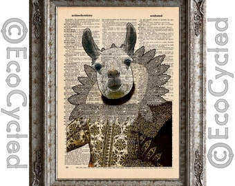 Drama Llama 1 Shakespeare on Vintage Upcycled Dictionary Art Print Book Art Print Recycled Repurposed bookworm gift