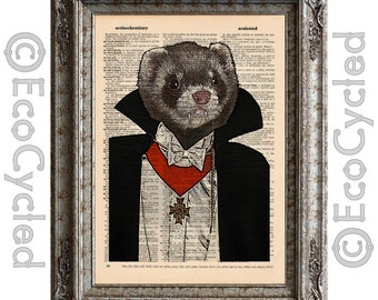 Vampire Ferret on Vintage Upcycled Dictionary Art Print Book Art Print Recycled Dracula bookworm gift
