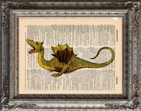 Medieval Dragon 2 on Vintage Upcycled Dictionary Art Print Book Art Print Recycle Mythical Beast