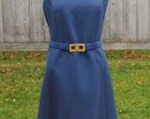 RESERVED FOR PEARLETTE Blue Shift Dress and Coat Set, 1960s Vintage