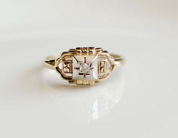 Wedding Ring Vintage Art Deco Stunning 14K Gold Diamond