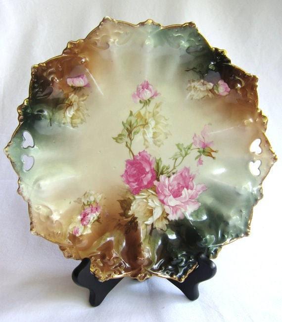 Wedding Decor or Cake Plate Vintage M Z Austria Hand Painted Tab Handled