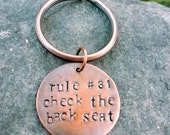 Key Chain- Key Ring- Zombie Rules- Check the Back Seat- Hand Stamped Copper Disc - hoptimystic