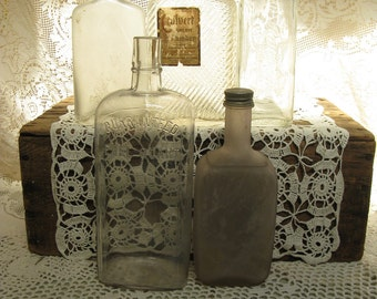 liquor bottle collection of 5 barware altered art great variety frosted patterned with caps great display altered art