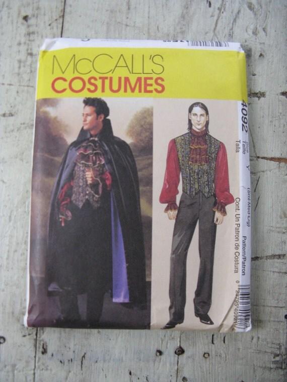 mens vampire costume pattern lined cape vest shirt jabot uncut mccalls S-M-L