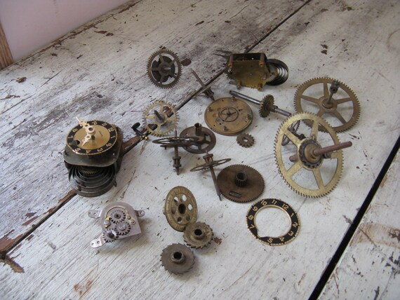 brass gears clock parts 18 brass closures steampunk design mixed media art great selection