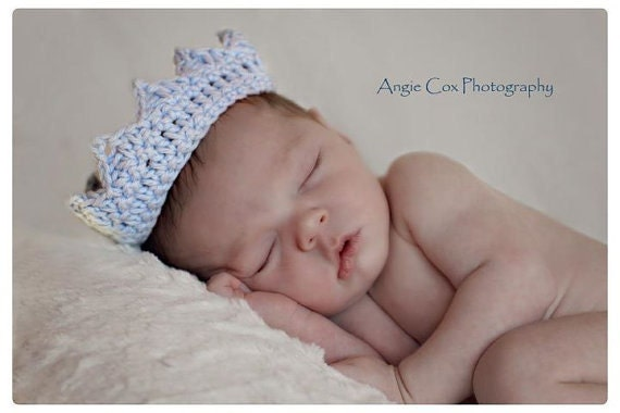 Crown - Crochet Baby Blue Prince - Baby Boy Photography Prop - Newborn, Infant, Child
