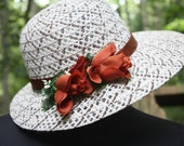 Vintage White straw hat with beautiful weaving design.