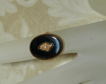 """Jet and Seed Pearl """"Finding"""" Ring 14k 1920's"""