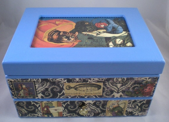 Halloween in Wonderland Light Blue Upcycled Jewelry Box