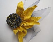 Rosette Hair Clip with Tulle and Fabric Accents
