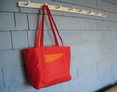 Recycled Sail Tote made from a red and orange spinnaker sail - Medium Size