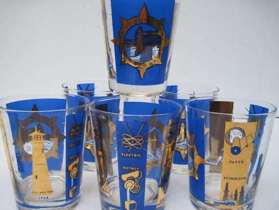 Mid century  barware  gold cobalt industrial