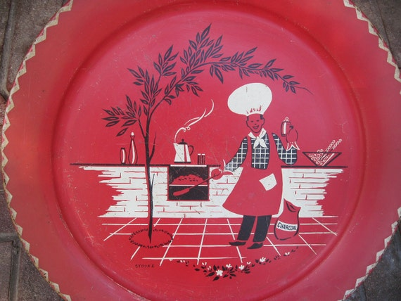 Vintage tray, Huge 1950's tin serving tray