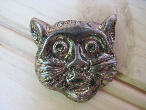 Cat head brooch, Vintage Cheshire cat head,Cheshire cat