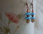 Turquoise and Copper, Czech Glass, Flower Earrings. Elegant Charm.