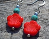 Bright Summer Contrast. Czech Glass Coral Flower with Silver and Turquoise.