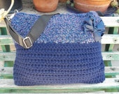 Laptop Tote, Messenger Bag, Book Bag in Blue, Crocheted with Homespun yarn, a Blue Bow, and a sturdy strap