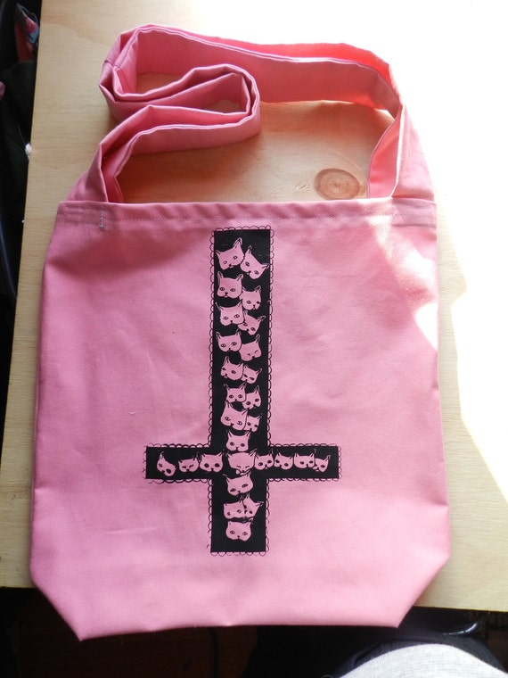 Kitty Cats Inverted Cross Screen Printed Pink Tote Bag