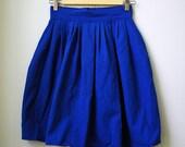 Vintage Royal Blue Pleated Knee Length Skirt
