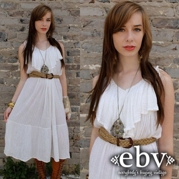 Vintage 70's White Gauze Hippie Boho Grecian Sun Dress