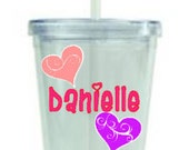 Valentine's Personalized Plastic Cups (Acrylic tumbler) with name or image - Swirly Heart
