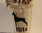 Dog Silhouette Personalized Plastic Cups (Acrylic tumbler) with name or image - Doberman