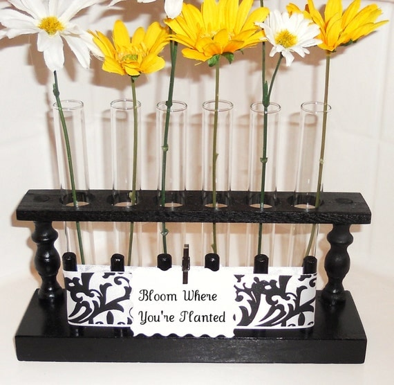 items similar to black flower vase test tube rack on etsy
