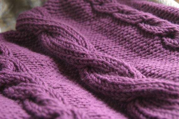 Cable Knit Baby Blanket In Dark Purple By Knitternicole On