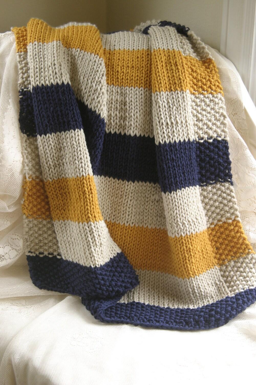 Hand Knitting Blankets : Navy mustard and cream hand knit baby blanket