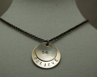 BELIEVE in the 5K Necklace - Running Jewelry - Cross Country Necklace on gunmetal chain - Cross Country - Track Runner - Road Race - Coach