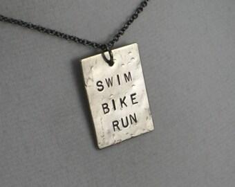 Triathlon Necklace SWIM BIKE RUN Necklace  - Triathlon Jewelry - Horizontal Hand stamped Dog Tag Style Pendant - Gunmetal Chain - Tri